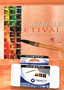 AKVARELLPAKET A4 + AQUAFINE TRAVEL 12-SET