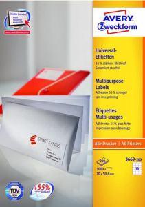 AVERY ETIKETTER LASER,INKJET,KOPIERING AVERY 3669 (70X50,8MM) 1500 ST/FRP