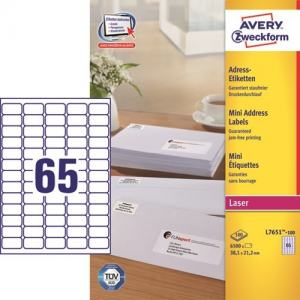 AVERY L7651-100 (38,1X21,2MM) 6500ST
