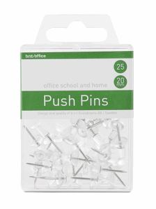 PUSH PINS NÅL TRANSPARENT, 25 ST/FP