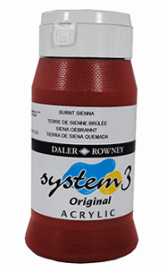 DALER ROWNEY SYSTEM 3 AKRYLFÄRG 500ML, BURNT SIENNA 221