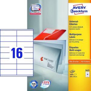 AVERY ETIKETTER LASER,INKJET,KOPIERING AVERY 3423 (105X35MM) 1600 ST/FRP