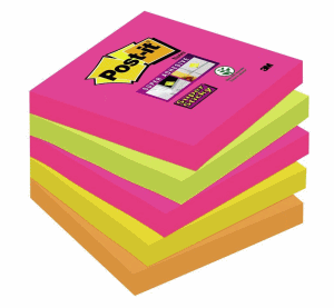 POST-IT SUPERSTICKY 76X76MM, 5-FÄRGER