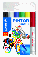 PILOT PINTOR MARKER REGULAR MEDIUM 6-PACK