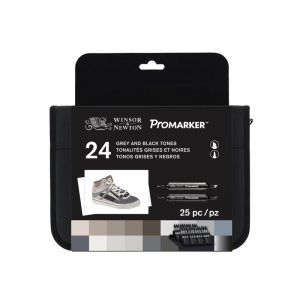 WINSOR & NEWTON PROMARKER GREY AND BLACK TONES 24-SET