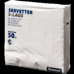 SERVETT 3-LAG 40X40CM VIT, 50 ST/FP