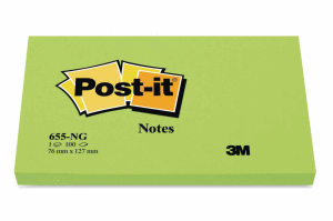 POST-IT NOTIS 76X127MM, NEON GRÖN