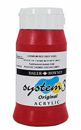 DALER ROWNEY SYSTEM 3 AKRYLFÄRG 500ML, CADMIUM RED DEEP 504