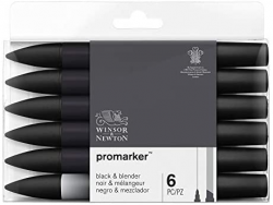 WINSOR & NEWTON PROMARKER BLACK AND BLENDER