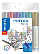 PILOT PINTOR MARKER METAL MEDIUM 6-PACK