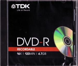 DVD-R 4,7GB 16X JEWELCASE TDK