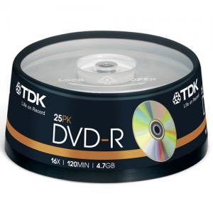 DVD-R TDK 16X CAKEBOX 25-PACK