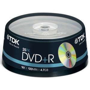 DVD+R TDK 16X CAKEBOX 25-PACK