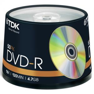 DVD-R TDK 16X CAKEBOX 50-PACK