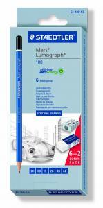 STAEDTLER MARS LUMOGRAPH 100 BLYERTSPENNA 6-SET