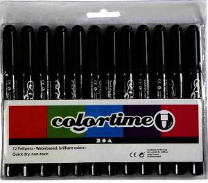 COLORTIME TUSCHPENNA SVART 12-PACK